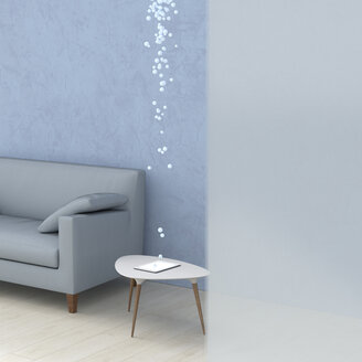Bubbles emerging from tablet in living room, 3d rendering - UWF01388