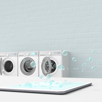Bubbles emerging from tablet in laundry room, 3d rendering - UWF01391