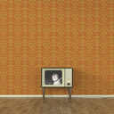 Old-fashioned TV with moon landing of a robot, 3d rendering - UWF01394