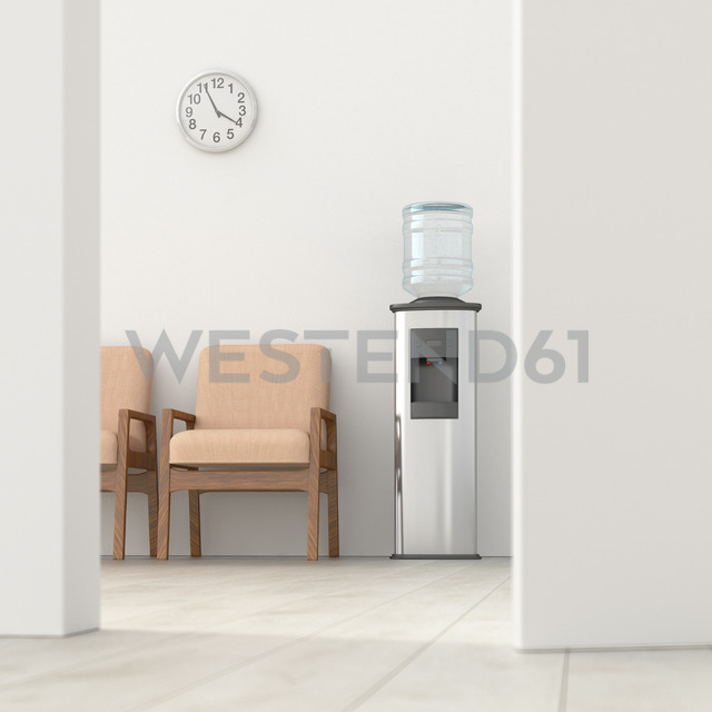 Waiting room behind ajar door, 3d rendering - UWF01397