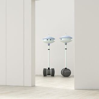 Two robots behind ajar door in an empty room, 3d rendering - UWF01400