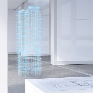 Model of a skyscraper with digital grid, 3d rendering - UWF01403
