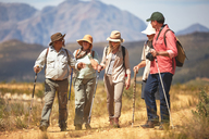 Active senior friends hiking with hiking poles - CAIF20395