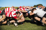 Dedicated rugby team forming scrum on field against clear sky - CAVF48189