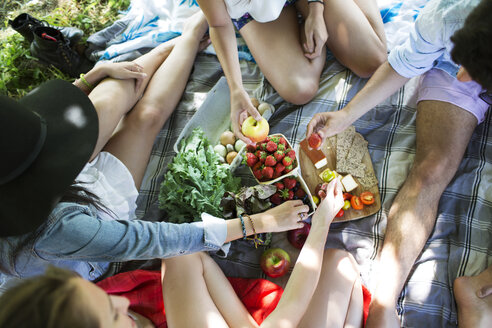 High angle view of friends eating food while sitting on picnic blanket - CAVF48426