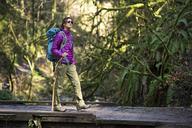 Woman with stick walking on footbridge in forest - CAVF48750