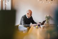 Senior man sitting at home, using laptop - GUSF00674