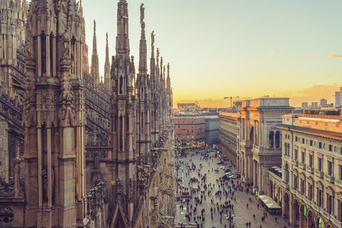 Italy, Lombardy, Milan, Milan Cathedral at sunset - TAMF01042