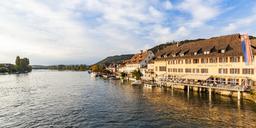 Switzerland, Canton of Schaffhausen, Stein am Rhein, Lake Constance, Rhine river, old town, Hotel Restaurant Rheinfels - WD04592