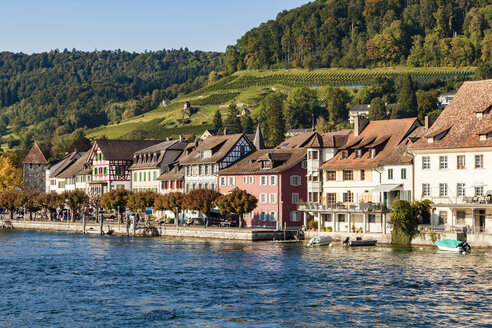 Switzerland, Canton of Schaffhausen, Stein am Rhein, Lake Constance, Rhine river, Old town, waterfront promenade - WDF04604