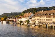 Switzerland, Canton of Schaffhausen, Stein am Rhein, Rhine river, Hotel Restaurant Rheinfels and Hohenklingen Castle - WDF04610