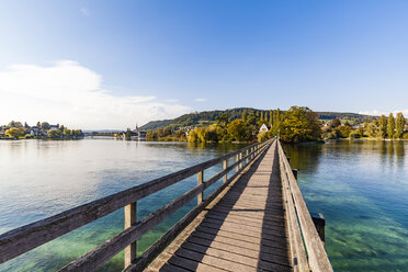 Switzerland, Thurgau, Lake Constance, Rhine river, View to Island Werd, footbridge - WDF04616