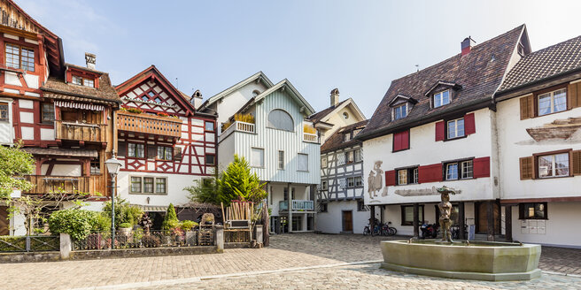 Switzerland, Thurgau, Arbon, Old town, Fish market square, historical houses - WDF04619
