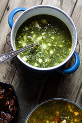 Caldo verde, soup with green cabbage, chorizo and potato - SBDF03550