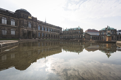 Germany, Saxony, Dresden, Zwinger palace, mirrored in fountain - ASC00864