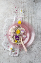 Natural yoghurt with buckwheat grits, edible flowers and cacao nibs - MYF02032