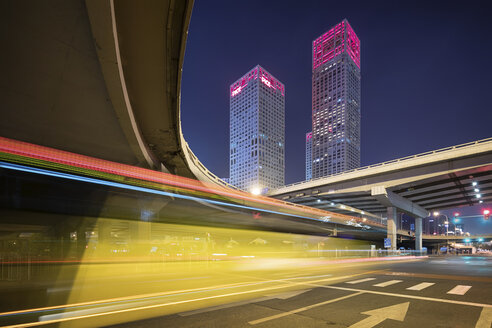 China, Beijing, Central business district and traffic at night - SPP00026