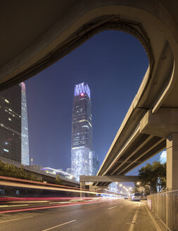 China, Beijing, Central business district and traffic at night - SPPF00029