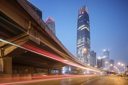 China, Beijing, Central business district and traffic at night - SPPF00032