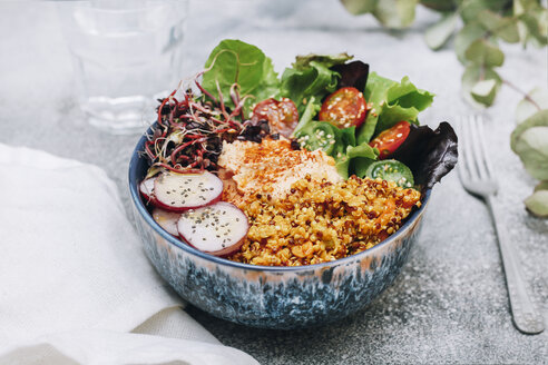 Vegan buddha bowl with hummus, quinoa with curry, lettuce, sprouts, green and red cherry tomatoes, sliced radish and sesame and poppy seeds - RTBF01231