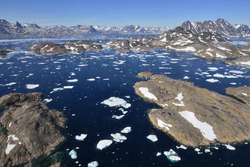 Greenland, East Greenland, Aerial view of Ammassalik island and fjord with pack or drift ice - ESF01611