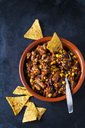 Vegetarian Chili with soy meat cut into strips and tortilla chips in earthenware dish - CSF29115