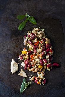Greek bean salad on dark ground - CSF29154