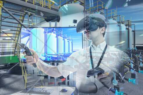 Engineer using virtual reality headset to explore 3D environment in robotics research facility - CUF00034