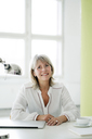 Portrait of smiling mature businesswoman at desk - HHLMF00245