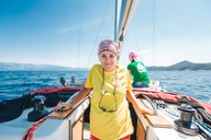 Portrait of young woman yachting, Croatia - ISF00015