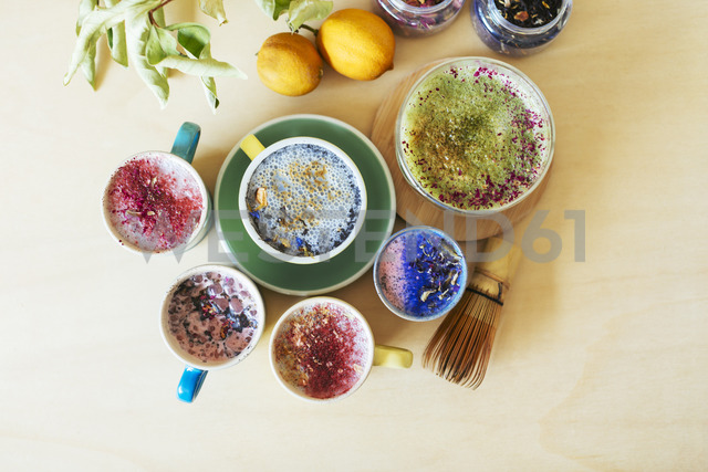 Overhead view of various colorful drinks - EBSF02472