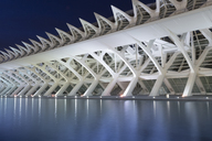 Spain, Valencia, City of Arts and Sciences, El Museu de les Ciencies Prinipe Felipe at blue hour - FC01381