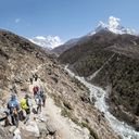 Nepal, Solo Khumbu, Everest, Group of mountaineers walking in the mountains - ALRF01048