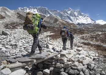Nepal, Solo Khumbu, Everest, Group of mounaineers hiking at Dingboche - ALRF01072