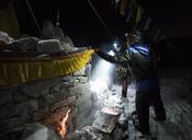 Nepal, Solo Khumbu, Sherpas checking Everest Base Camp at night - ALRF01120