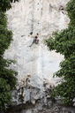 Thailand, Krabi, Chong Pli, woman climbing in rock wall - ALRF01165