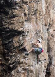 Thailand, Krabi, Thaiwand wall, barechested climber in rock wall - ALRF01189