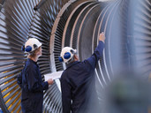 Engineers Looking At Turbine - CUF00931