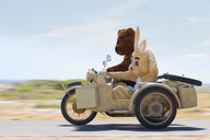 Bear and bunny riding a motorbike - CUF01057