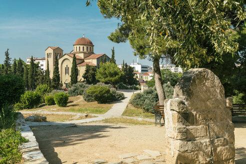 Greece, Athens, Kerimakos cemetary with Ekklisia Agia Triada in the background - TAM01074