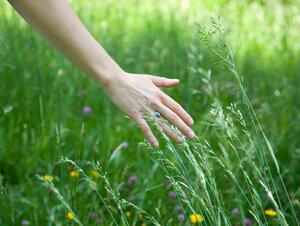 Woman running hand through grass - CUF01558