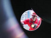 Worker inspects gas storage plant - CUF01745