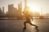 China, Shanghai, Skyline, athlete in the morning - SPP00038