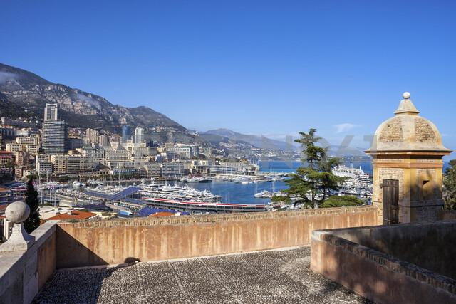Principality of Monaco, Monaco, Monte Carlo, View from old town to marina - ABOF00336