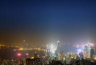 China, Hong Kong, skyline at night - MKFF00371