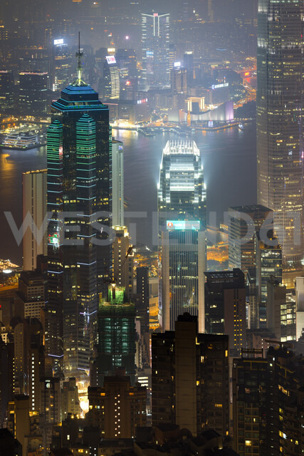 China, Hong Kong, Central and Tsim Sha Tsui at night - MKFF00374