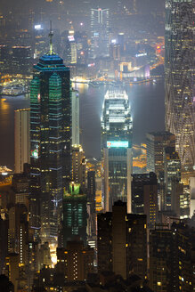 China, Hong Kong, Central and Tsim Sha Tsui at night - MKFF00374