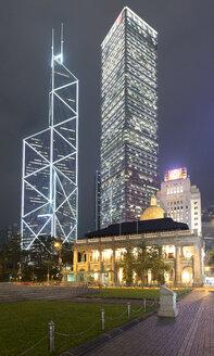 China, Hong Kong, Former legislative Council Building at night - MKFF00386