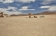 Recreational vehicle, travelling across landscape, Villa Alota, Potosi, Bolivia, South America - CUF02303