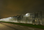 Greenhouse at night, in Westland,  area with the highest concentration of greenhouses in Netherlands - CUF02330